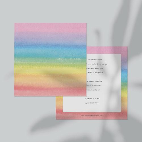 faire-part de mariage rainbow à personnaliser