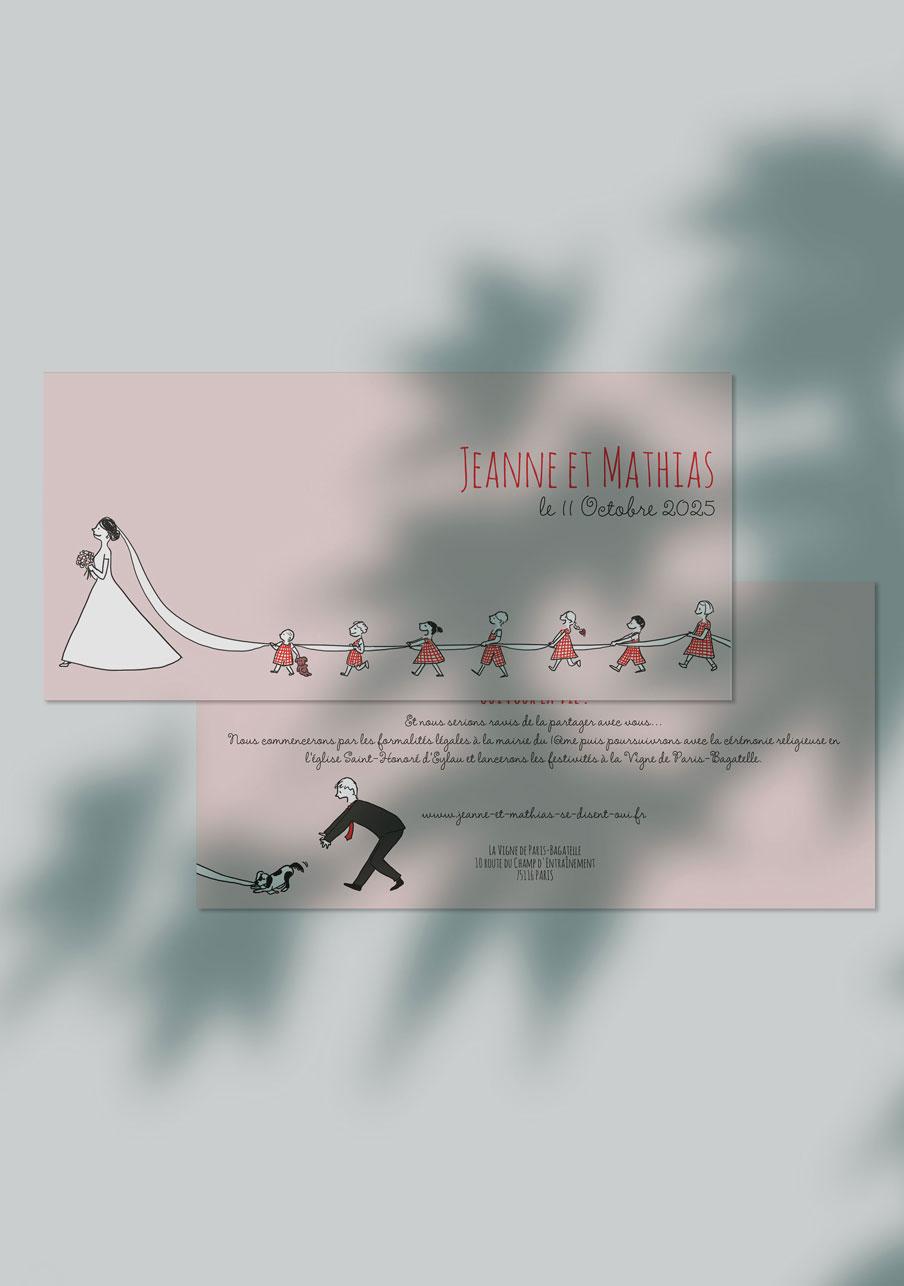 faire-part mariage personnalisé Traîne de la mariée
