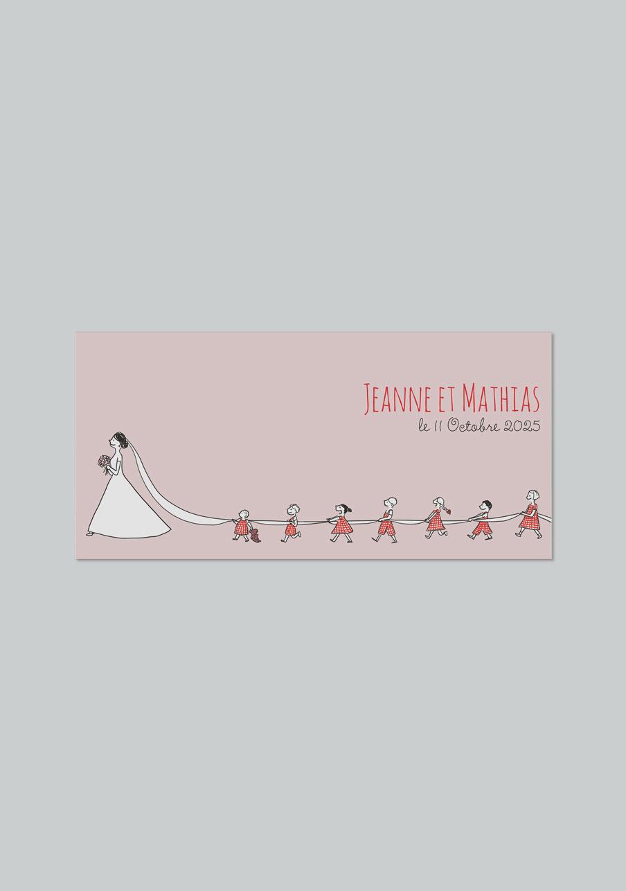 faire-part mariage Traîne de la mariée