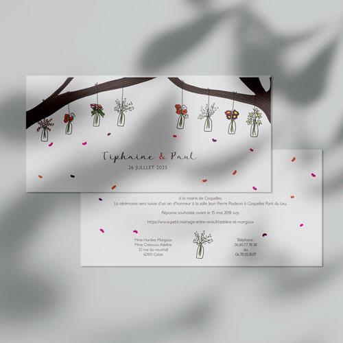 faire-part de mariage vases-suspendus à personnaliser