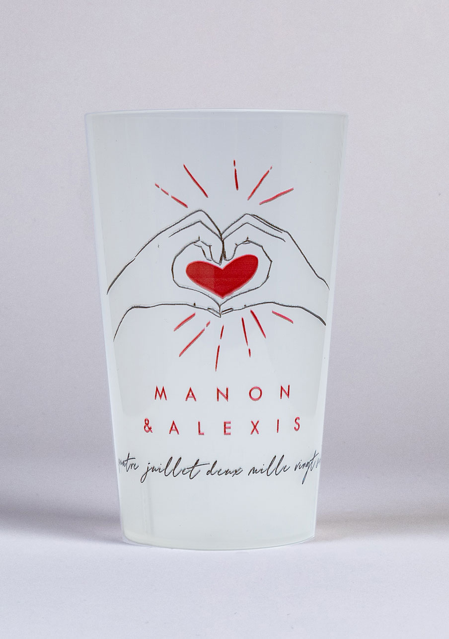 gobelet mariage personnalisé Coeur rouge
