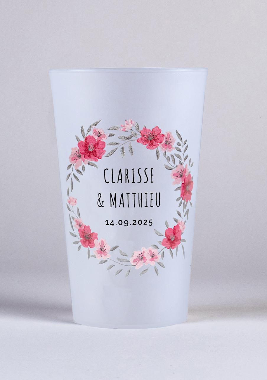 gobelet mariage personnalisé Couronne fleurs rose