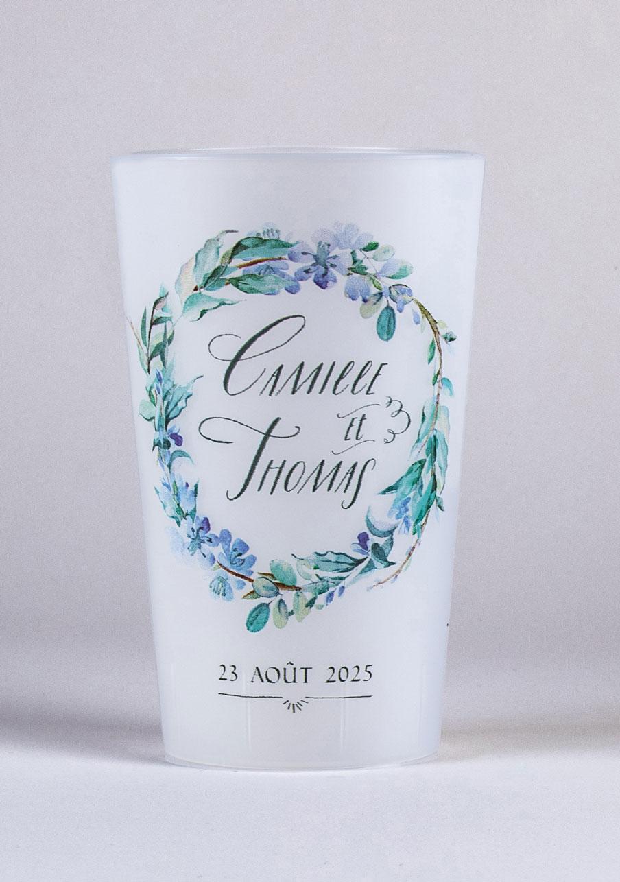 gobelet mariage personnalisé Fleuri bleu