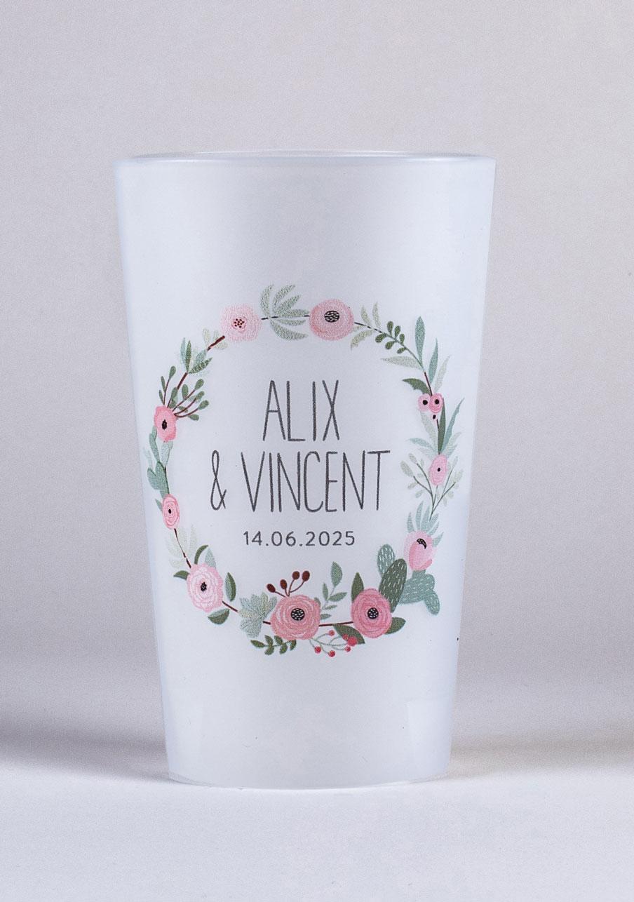 gobelet mariage personnalisé Fleuri rose