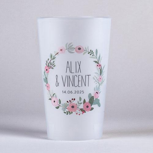 gobelet de mariage fleuri-rose à personnaliser