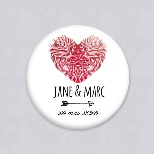 Magnet de mariage coeur à personnaliser