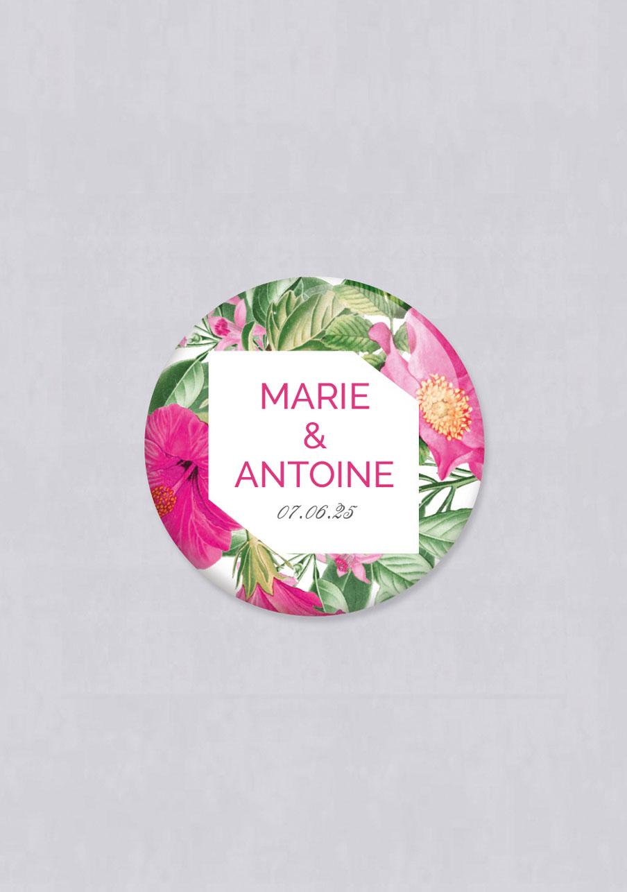 magnet mariage personnalisé Floral