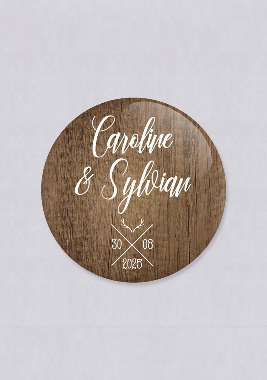 miroir mariage personnalisé Bois