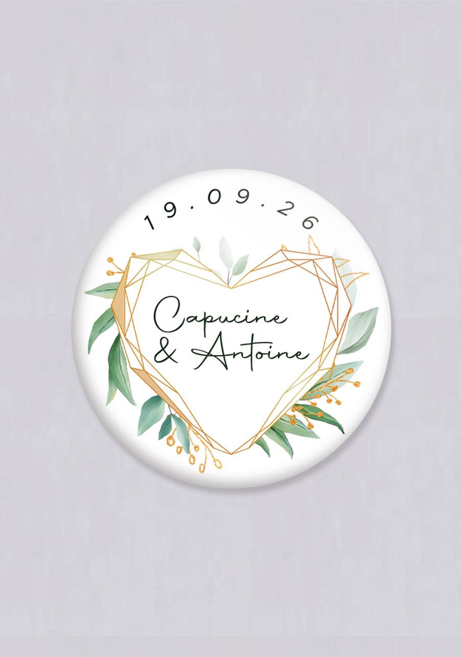 miroir mariage personnalisé Coeur géométrique