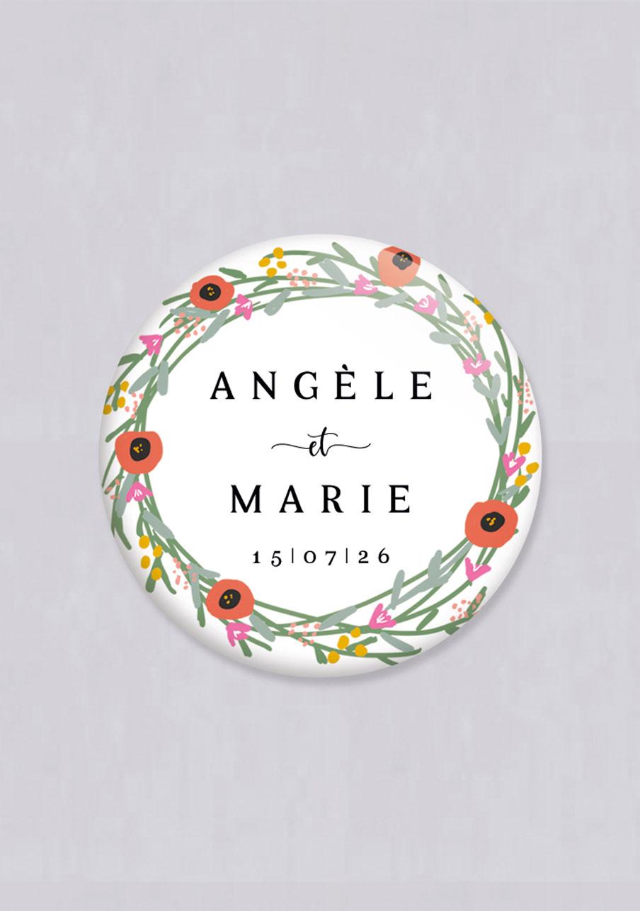 miroir mariage personnalisé Couronne de fleurs
