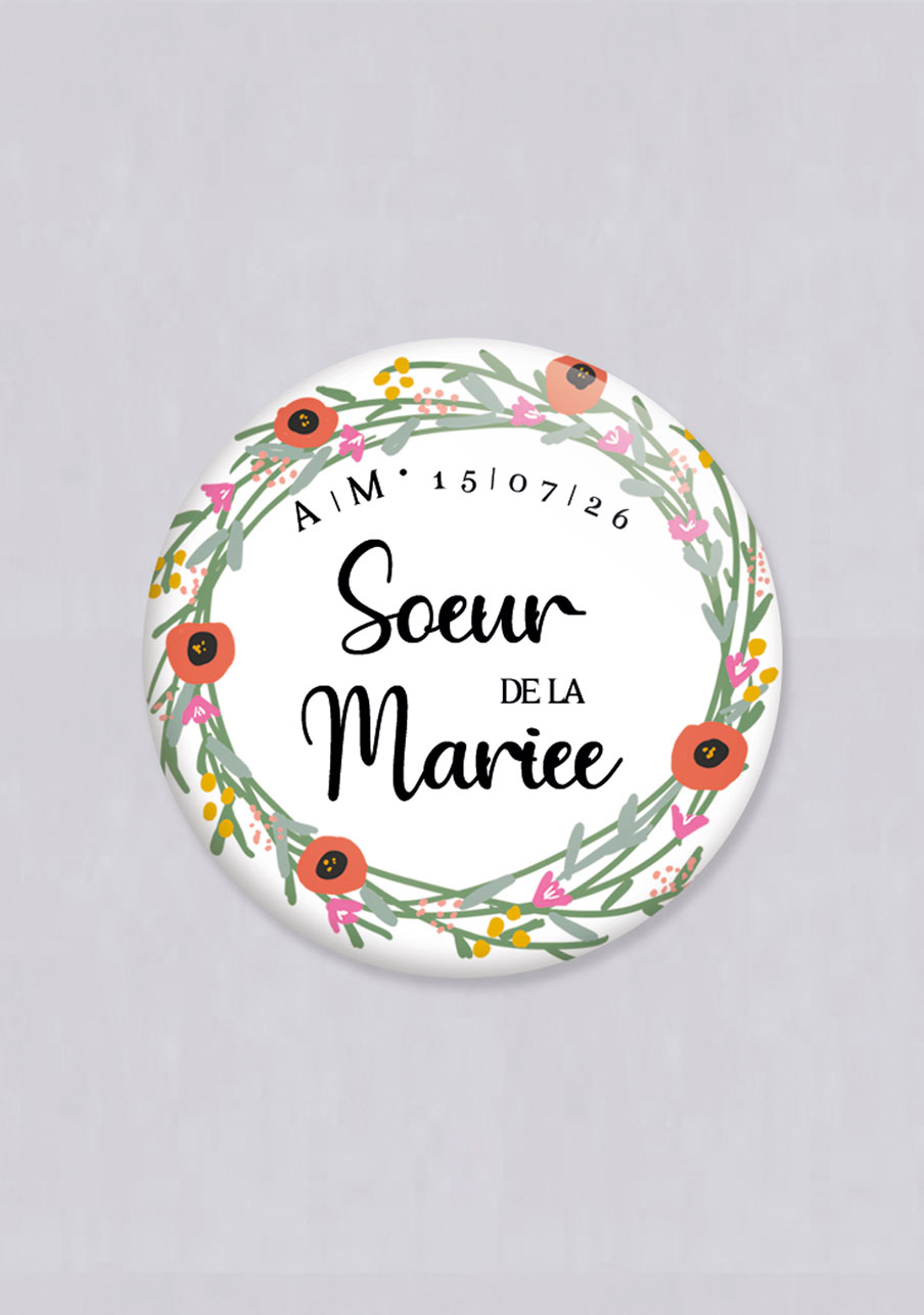 miroir mariage Couronne de fleurs