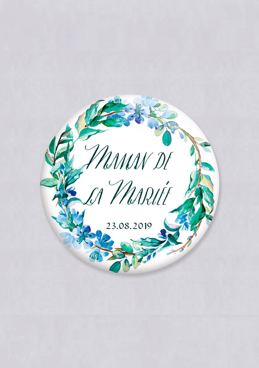 miroir mariage personnalisé Fleuri bleu