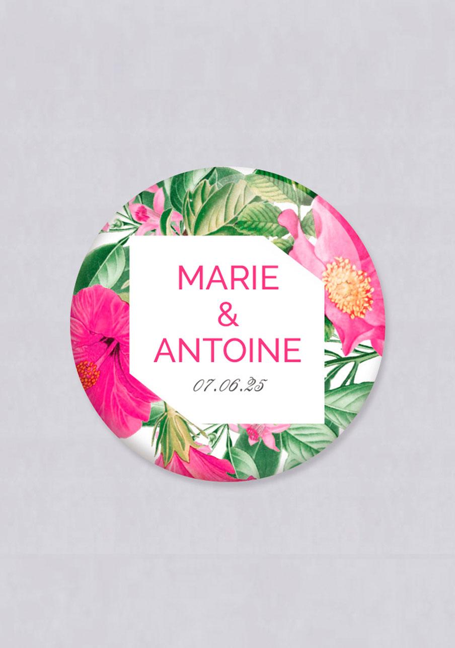 miroir mariage personnalisé Floral