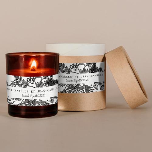 Petite bougie ambrées de mariage composition-florale à personnaliser