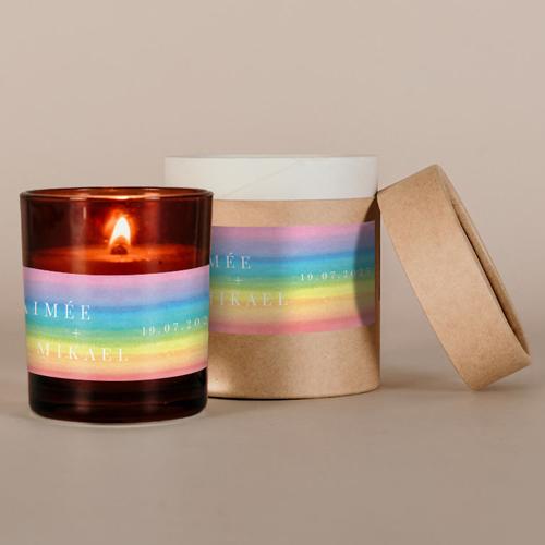 Petite bougie ambrées de mariage rainbow à personnaliser
