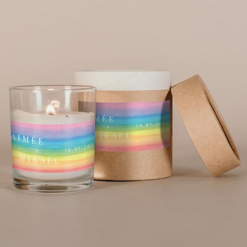 Petite bougie blanche de mariage rainbow à personnaliser