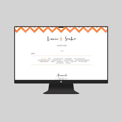 site de mariage chevrons-orange à personnaliser