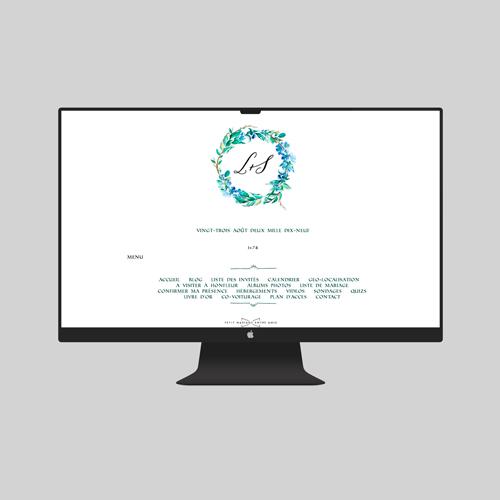site de mariage fleuri-bleu à personnaliser