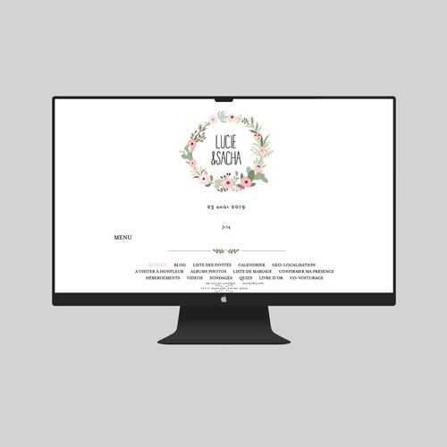 site de mariage fleuri-rose à personnaliser