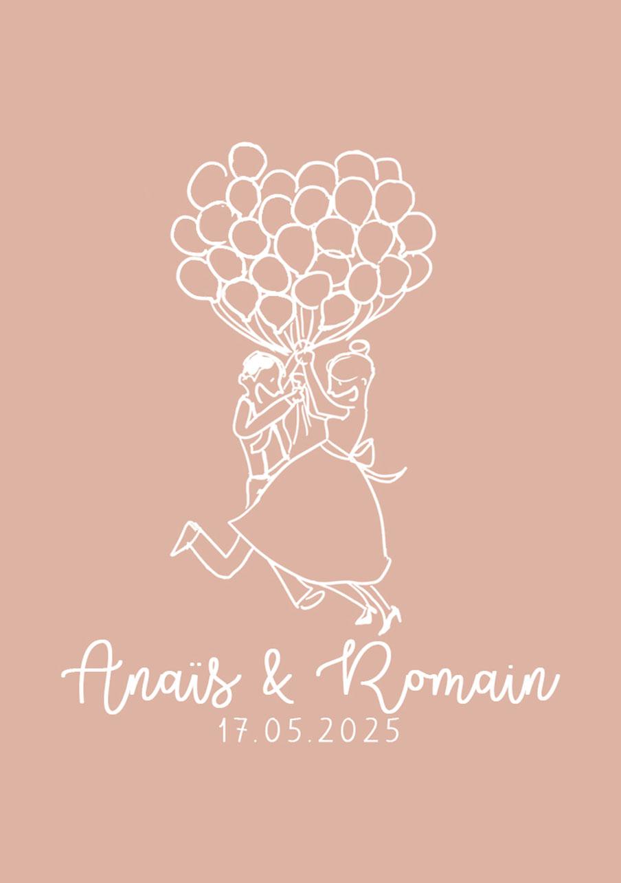 vin-rose mariage Ballons
