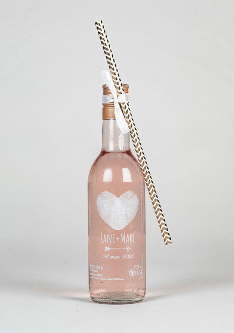 vin-rose mariage personnalisé Coeur