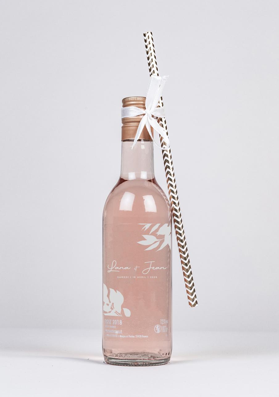 vin-rose mariage personnalisé Feuilles kraft