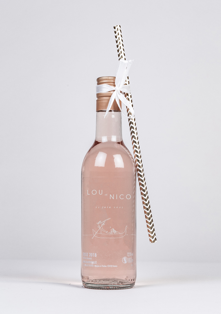 vin-rose mariage personnalisé Gondole