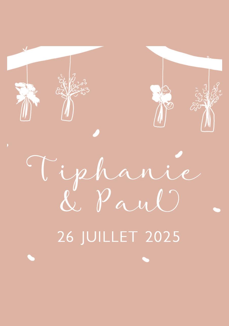 vin-rose mariage Vases suspendus